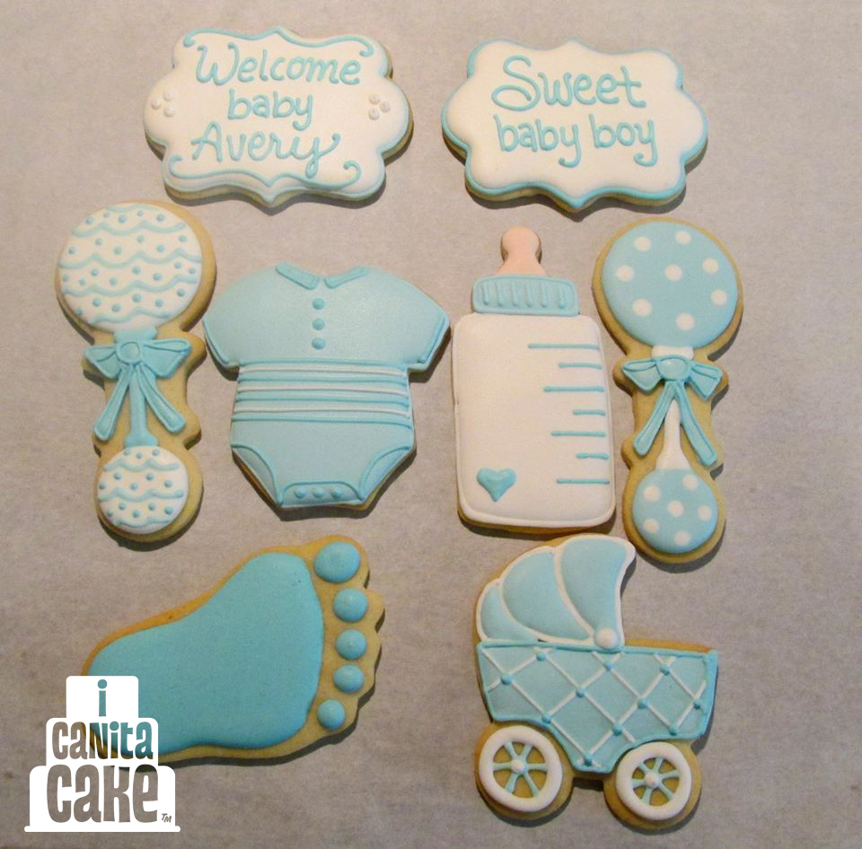 I Canita Cake Blue White Baby Cookies