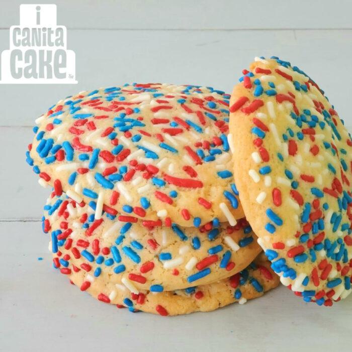 Patriotic sprinkle cookies by I Canita Cake