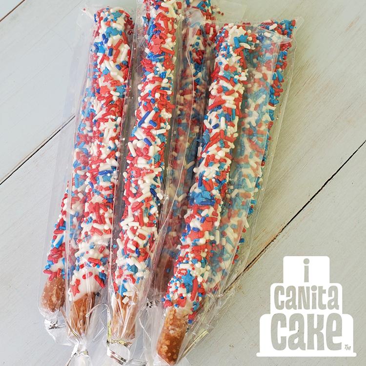 Patriotic Dipped Pretzel Sticks by I Canita Cake