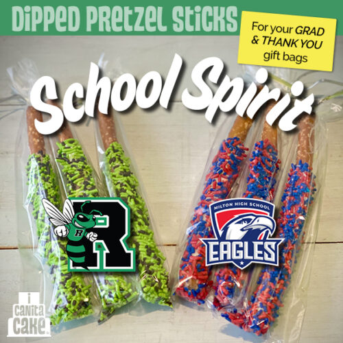 School Spirit Dipped Pretzel Sticks by I Canita Cake